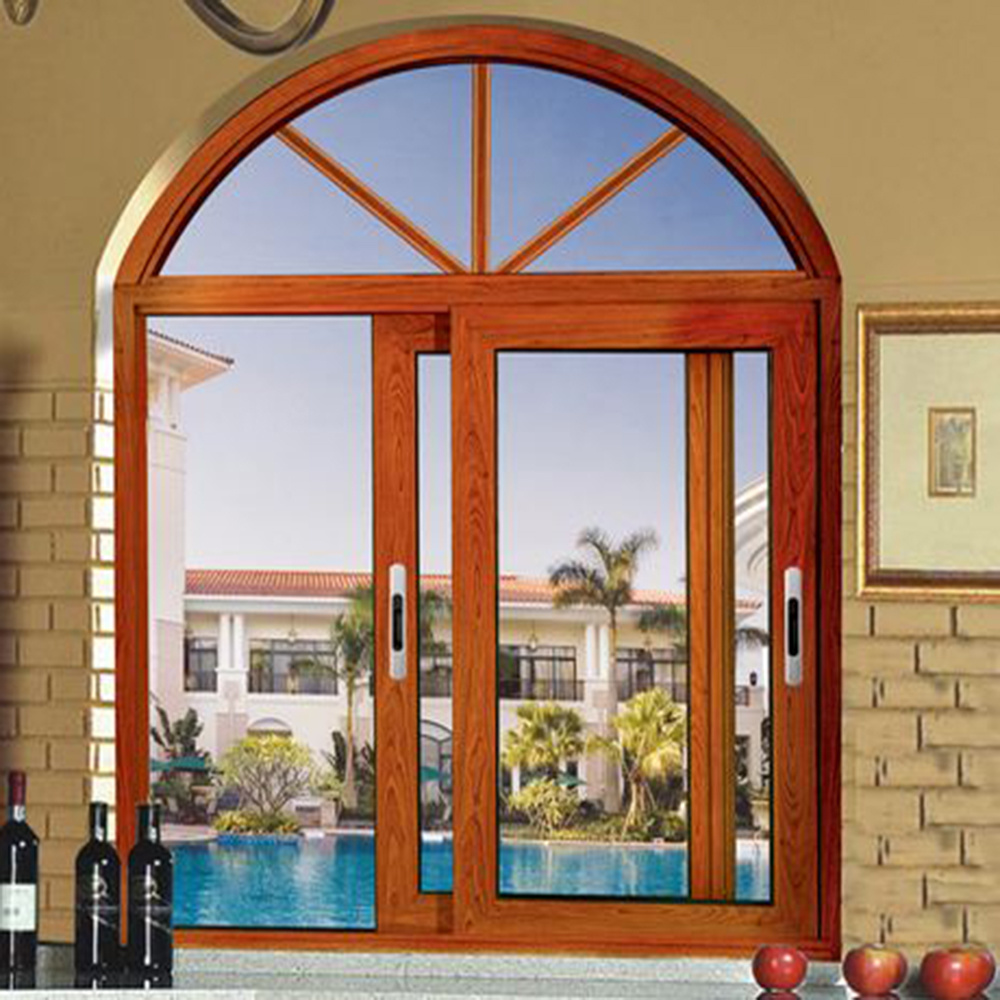 China Aluminum Malaysia Wooden Color Frame Glass Door And Window Design Sliding
