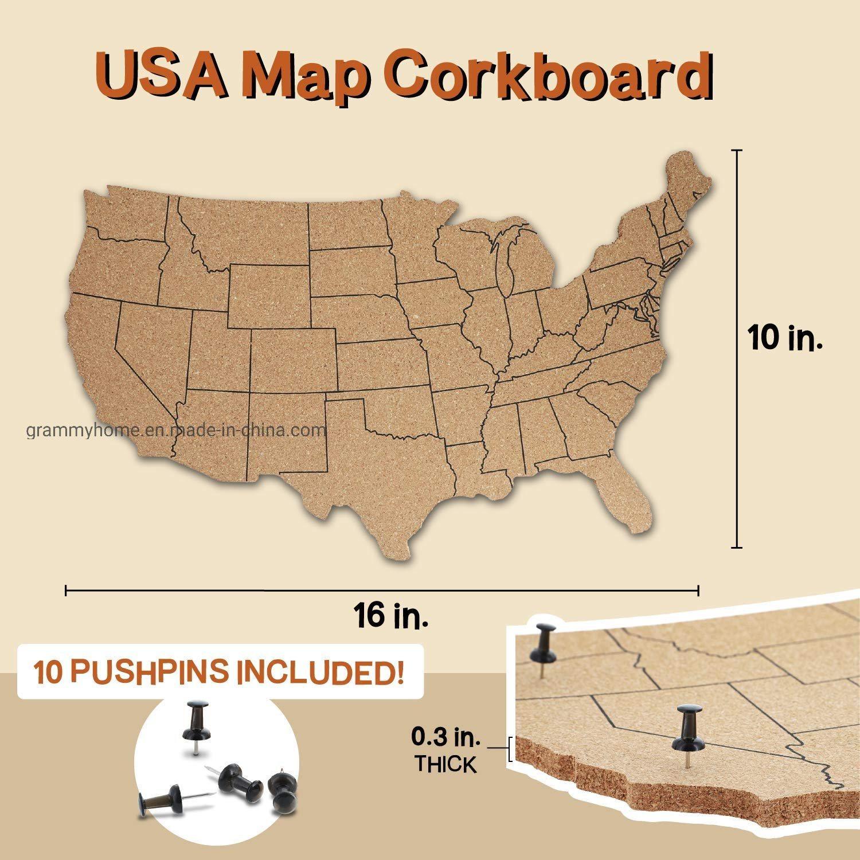 [Hot Item] USA Map Cork Board Wall Mounted Hanging Bulletin Board