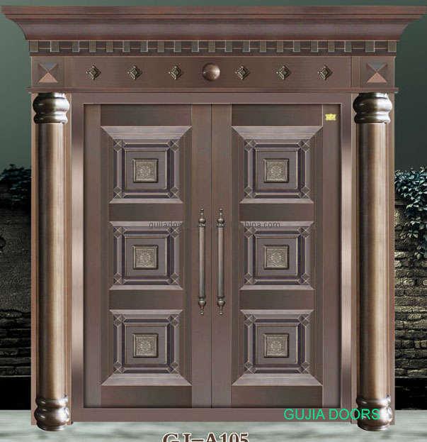 China Copper Coating Steel Exterior Entrance Door