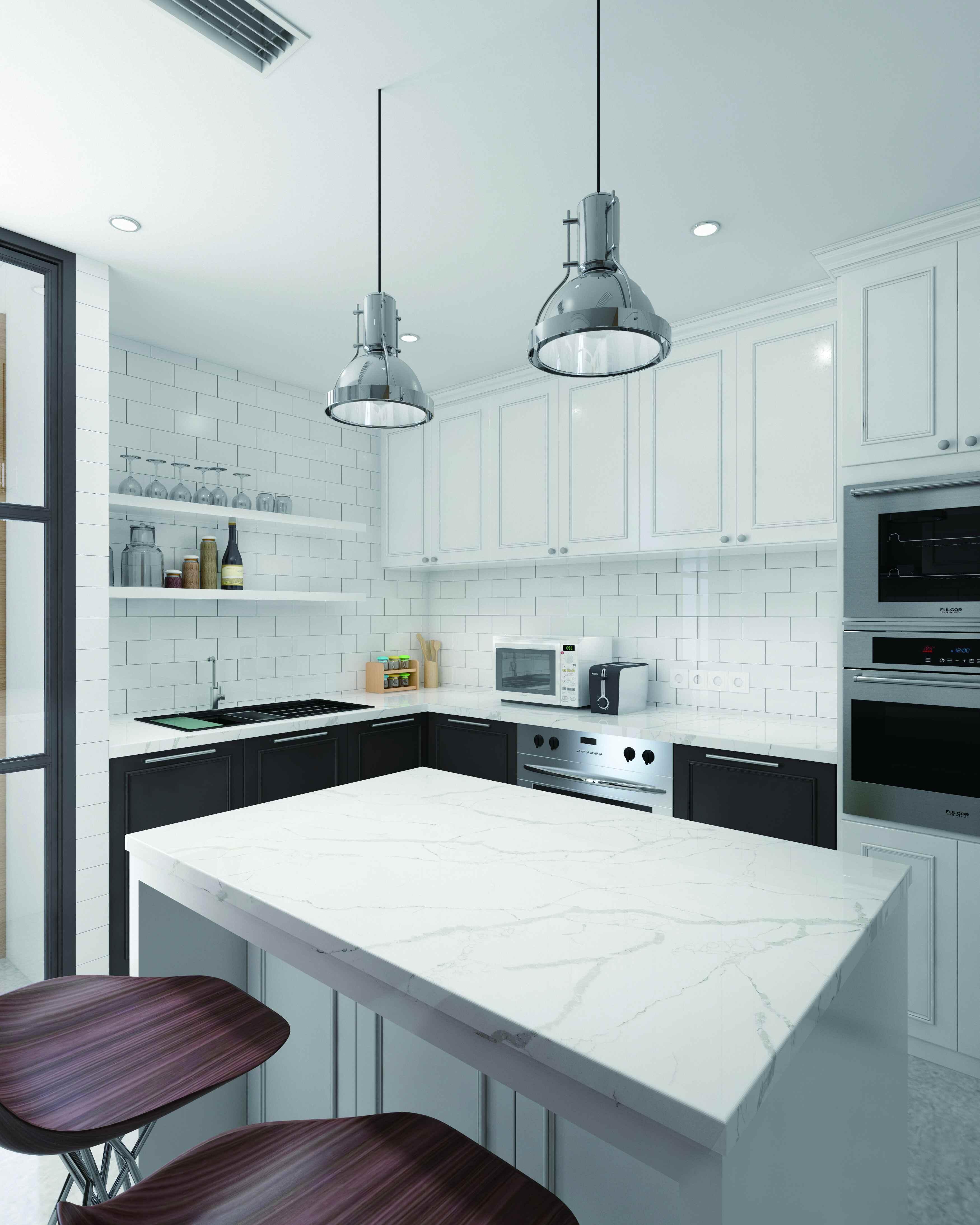 China Calacatta White Artificial Stone Quartz Kitchen Countertop ...