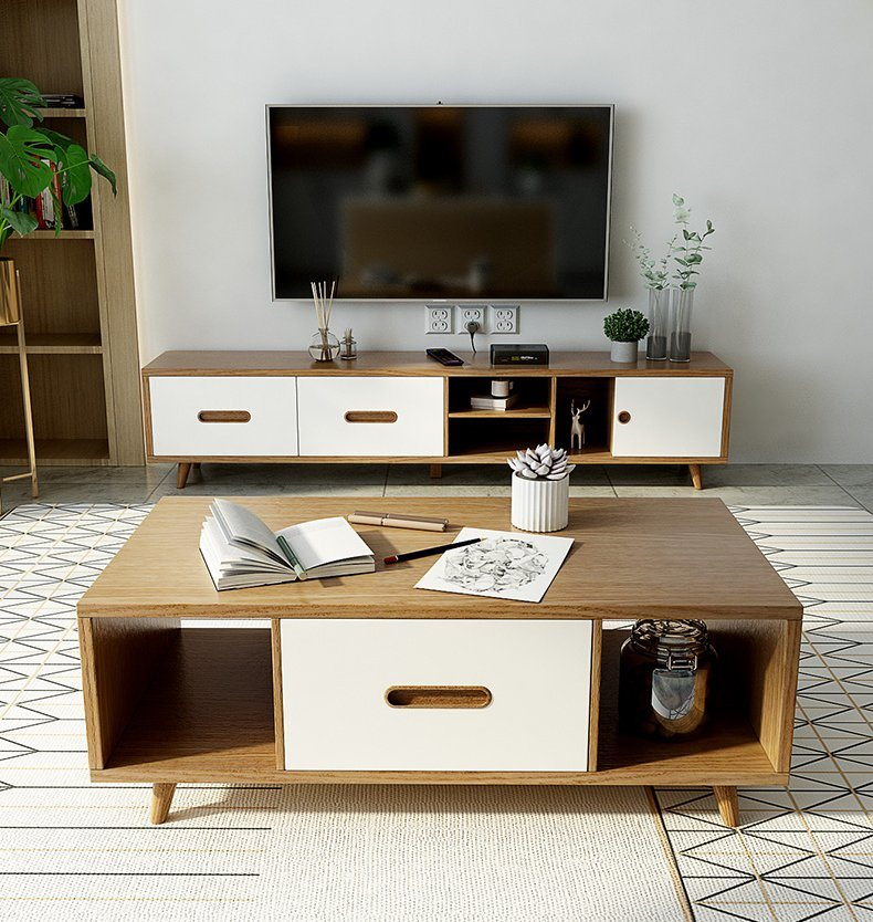 China Nordic Tea Table Tv Cabinet Combination Wall Cabinet Living Room Small Family Solid Wood Foot Storage Floor Cabinet Tv Cabinet Tv Stand China Wooden Tv Stand Tv Stand Furniture