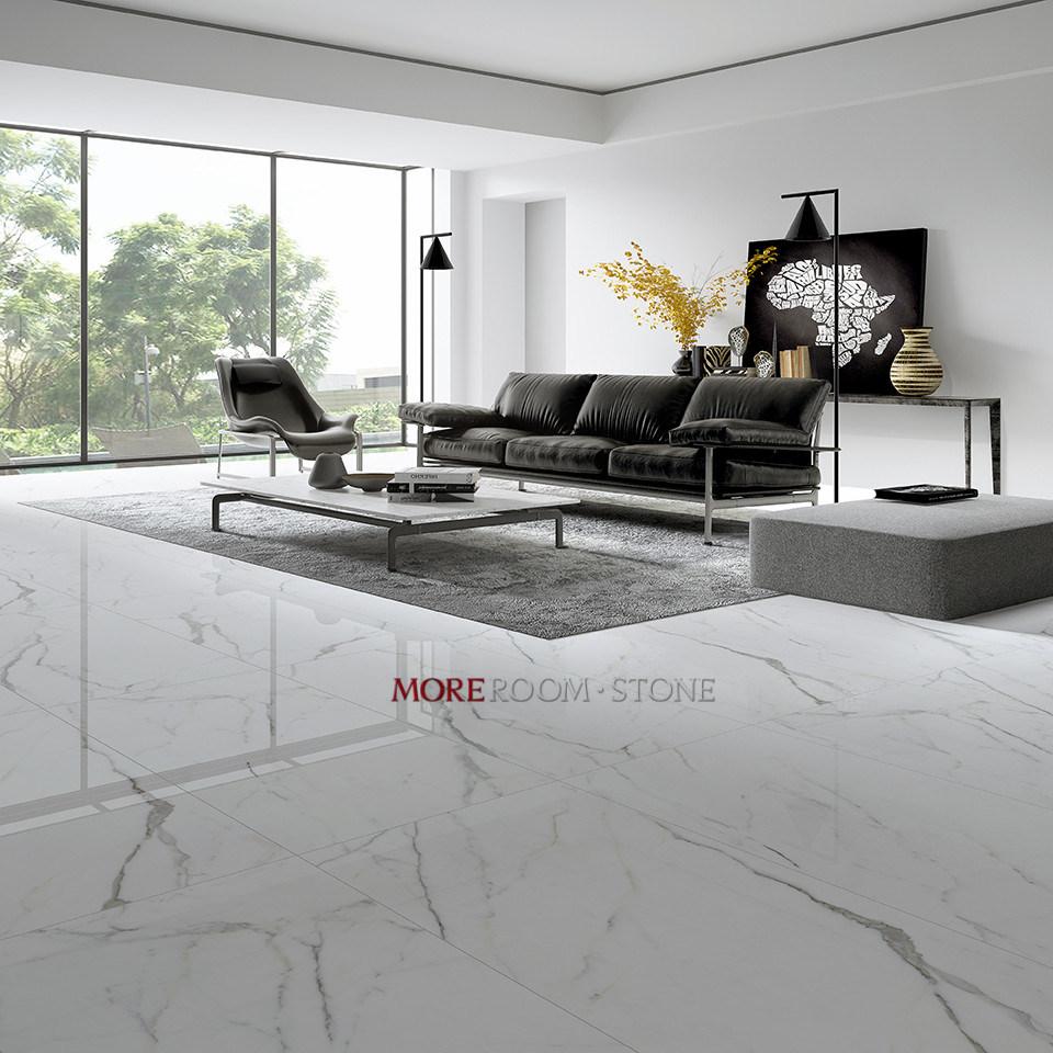 Polished Snow White Glazed Marble Tile