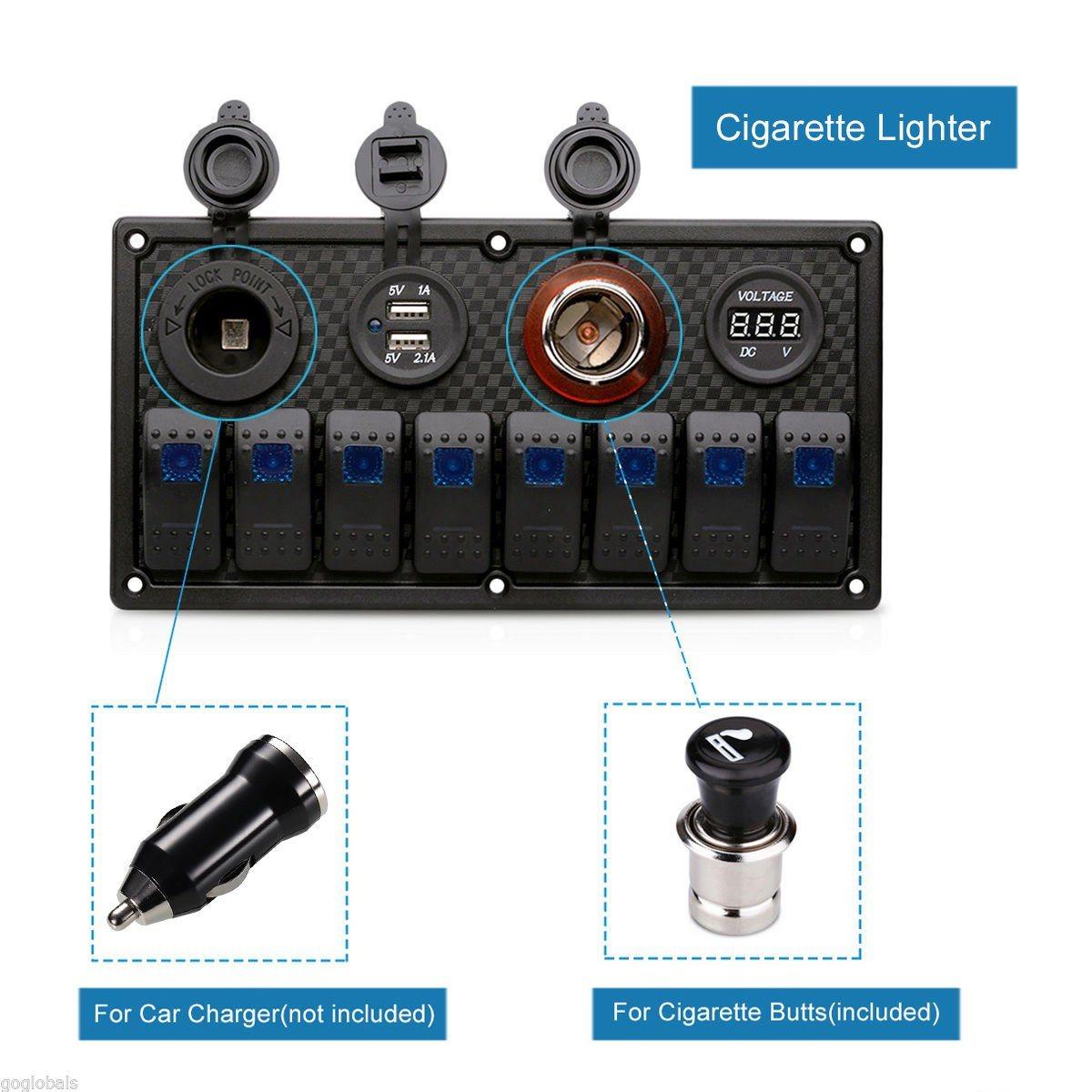 8gang car marine waterproof ar marine waterproof 5 pin boat rocker switch  panel +fuse dual usb slot led light++ power socket breaker voltmeter