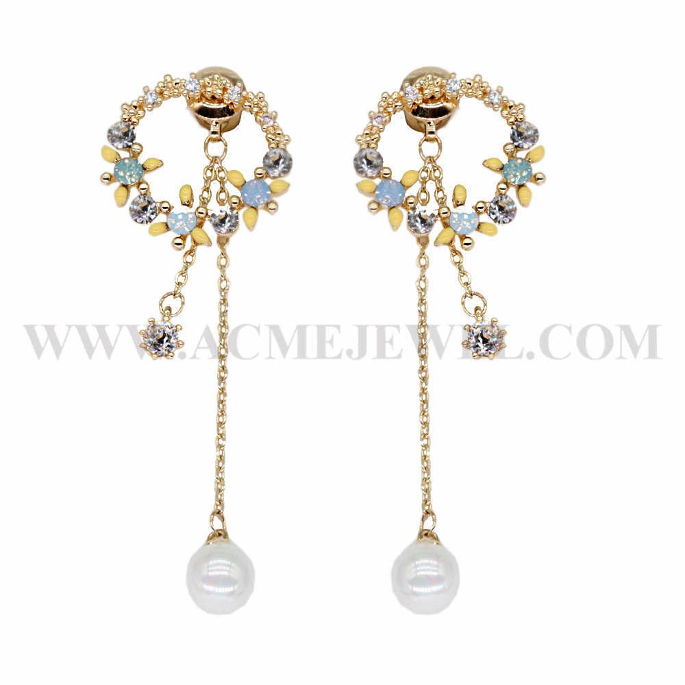 Imitation earrings gold-plated ear posts circle brass charm earrings