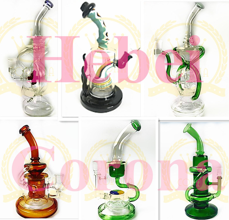Wholesale Corona Factory Mini 6-12inch Mix Color Oil Rig Newest Color Recycler Glass Water Pipe