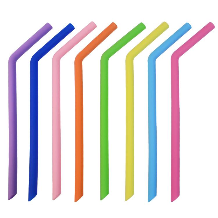8Pcs Reusable Silicone Drinking Straws BPA FREE w// Cleaning Brush Tableware Set