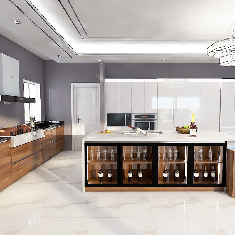 China Pre Assembled White Glossy Lacquer Full Kitchen Cabinet Set With Island China Full Kitchen Cabinet Kitchen Cabinets Set
