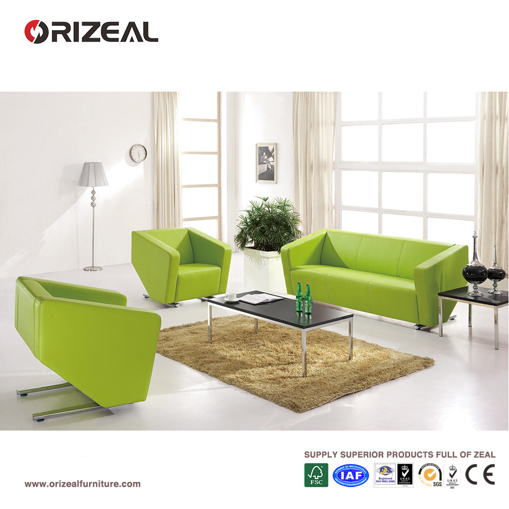 Lime Green Office Leather Sofa Set