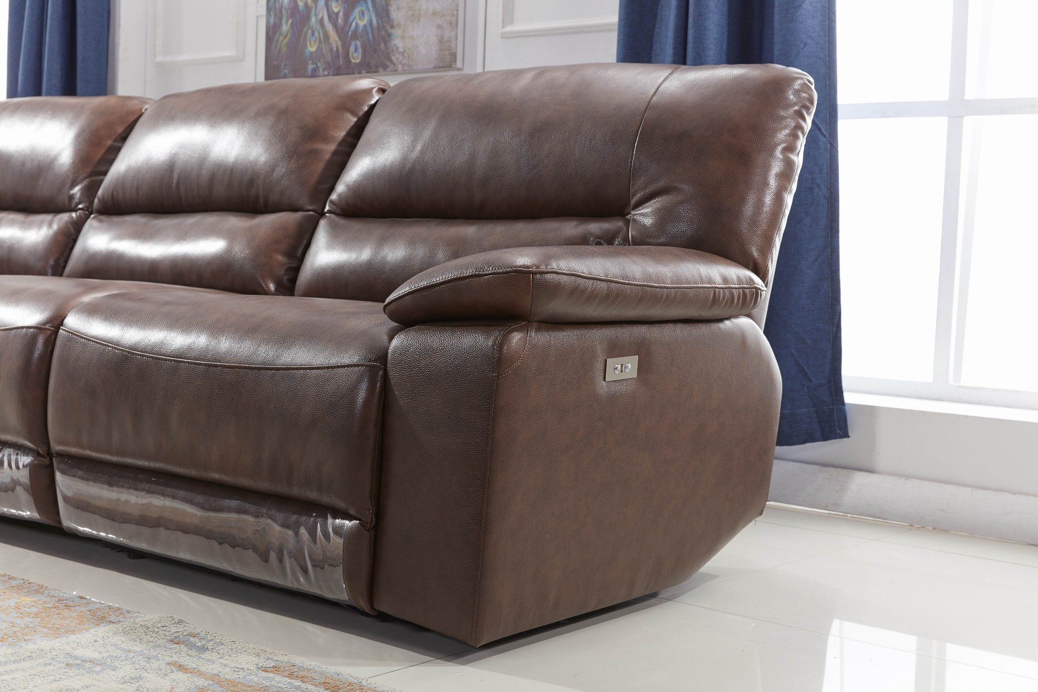 - China 4 Seater Reclining Recliner Top Grain Leather Home Theater