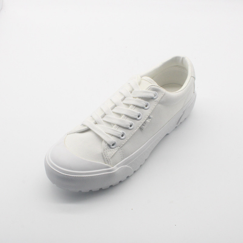 White Rubber Canvas Shoes with Durable