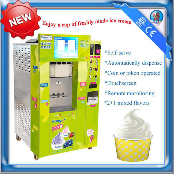 2+1 Mixed Flavors Automatic Vending Soft Ice Cream Machine