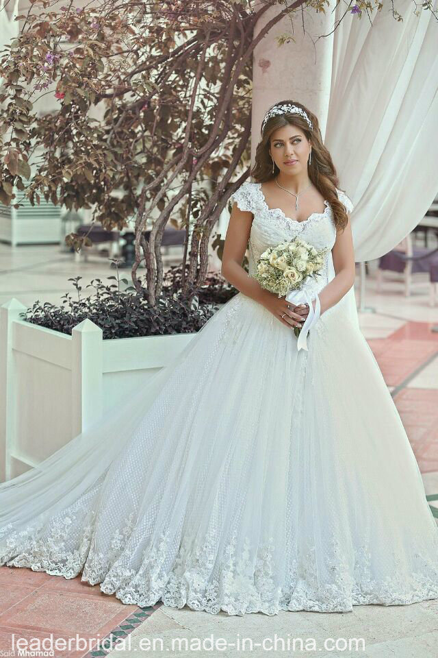 China Arabic Dubai Bridal Gowns Dots Tulle Ball Gown Lace Wedding ...