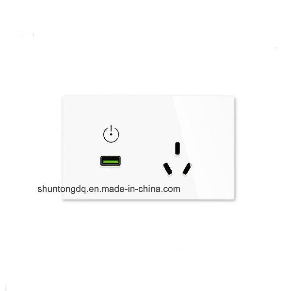 China Au/Us Standard USB Wall Power Socket, White Crystal Glass ...
