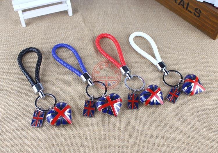 Union Jack Flag Leather and Enamel Key Ring Key Fob