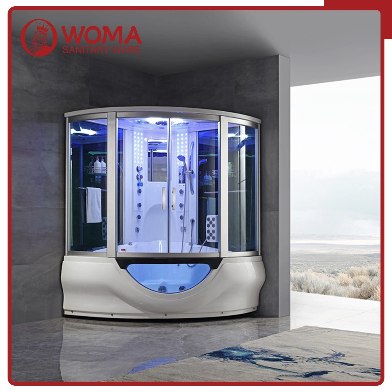 Hot Item Two Person Steam Shower Luxury And Large Shower Combo Steam Room With Massage Function Steam Sauna Room