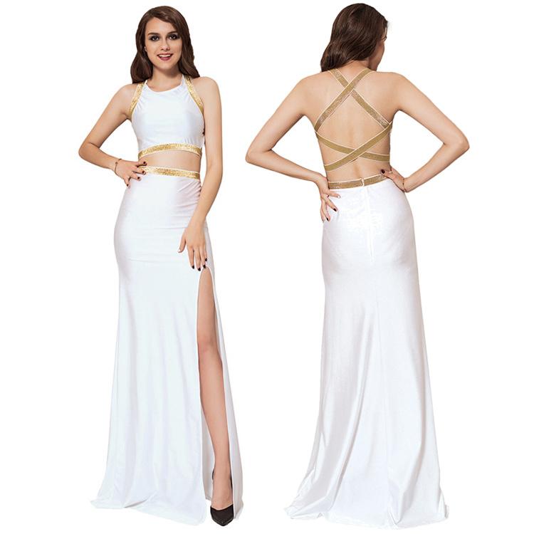 [Hot Item] Manufacture Plus Size White Separate Golden Edge Ladies Evening  Dress