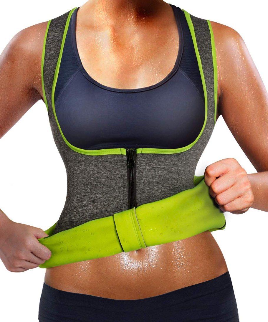Women/'s Waist Trainer S Vest Slim Corset Neoprene Suana Tank Top Zip Weight Loss
