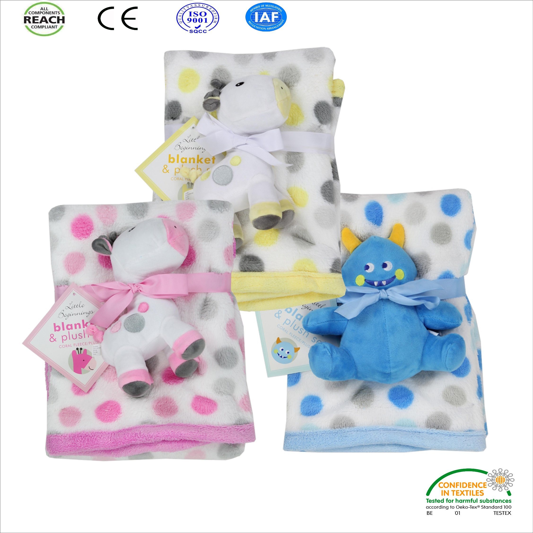 China New Design Cute Baby Blanket With Microplush Toy China Baby Blanket And Blanket With Toy Price