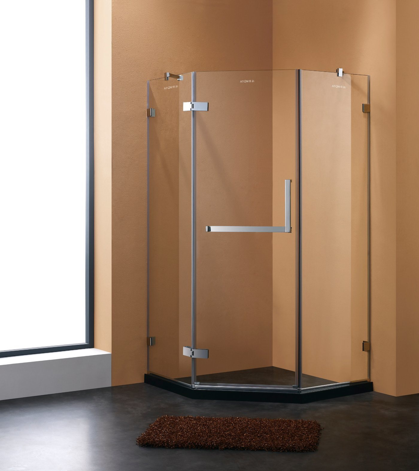 China Heavy-Feeling Stainless Steel Frameless Bathroom Shower Door ...