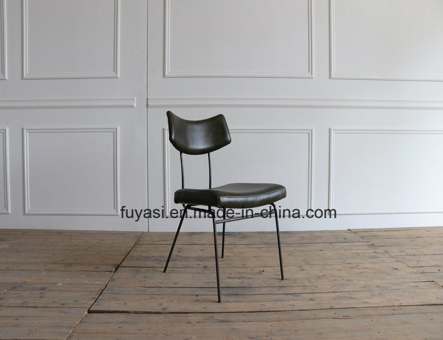 China Distressed Old Finishing Stainless Steel Base Vintage Green Leather Leisure Living Room Dining Chair