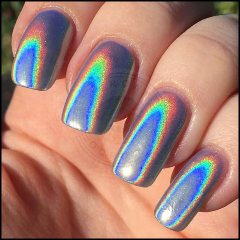 Laser Holographic Sugar Rainbow Chrome Mirror Nails Pigment Powder