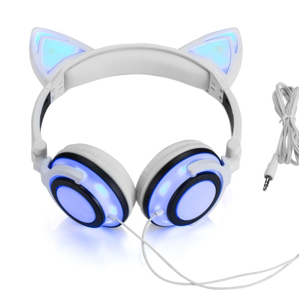 Wired Cat Ear Headphones Glowing Lights with USB Charging Cable Black