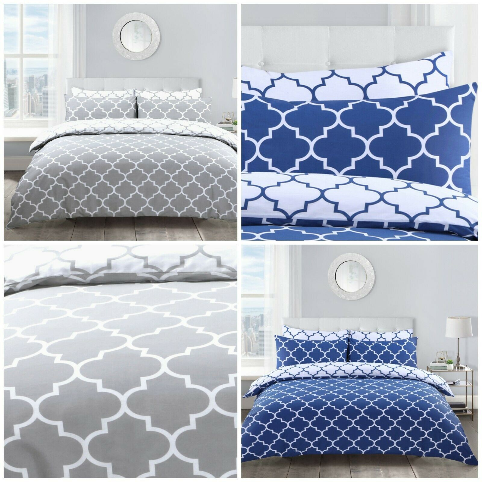 China Geometric Lattice Duvet Cover And Pillowcase S Printed Bedding Set Navy Grey China Bedding Set And Bed Sheet Price