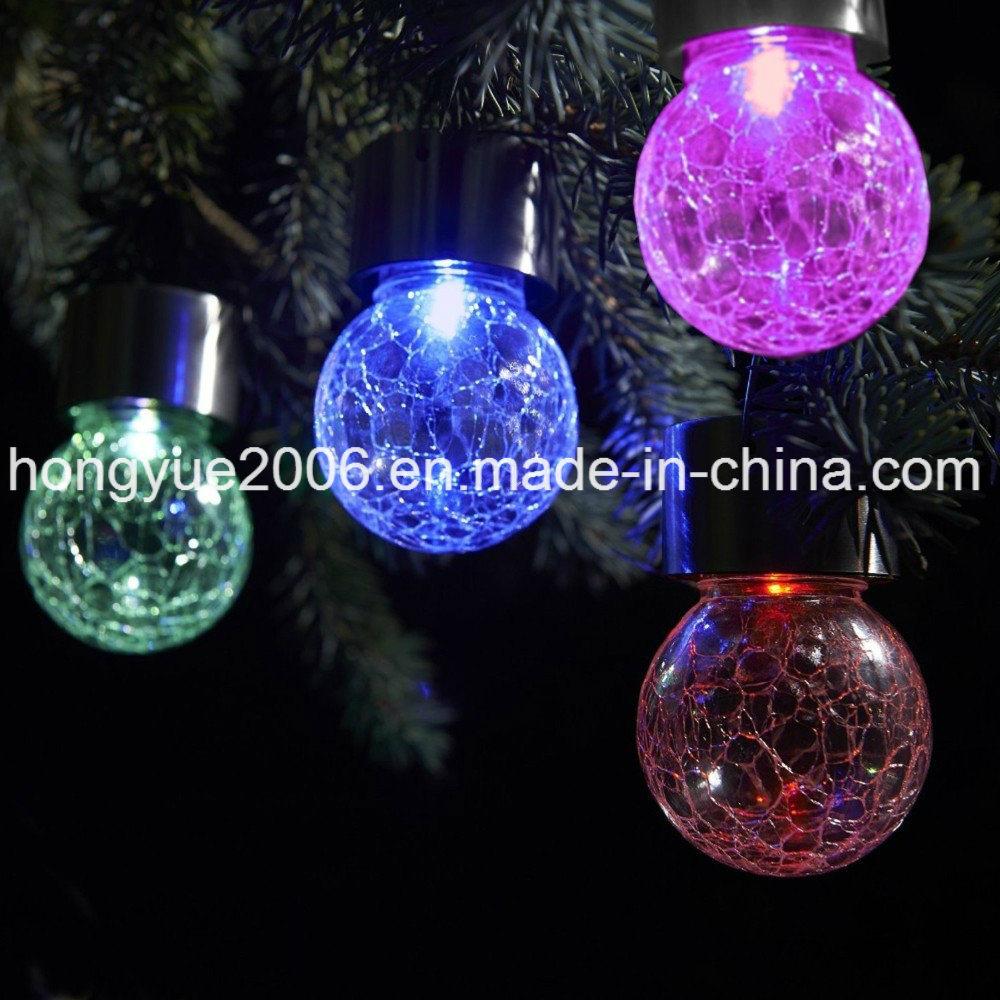China Le Glass Ball Colorful Solar Hanging Light Lamp Led