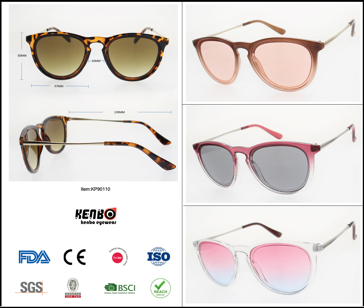 2019 New Fashion Classic Oval Plastic Sunglasses, Copy Popular Brand Eyewear, Accessory, Item No. Kp90110 pictures & photos