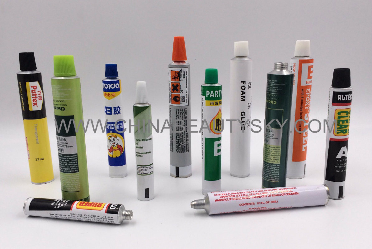 Silicone RTV Sealants Glue Loong Nozzle Empty Aluminum Collapsible Tube