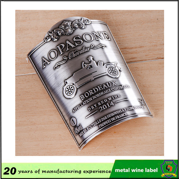 Custom Aluminum Embossed Bottle Label Wine Bottle Metal Label pictures & photos