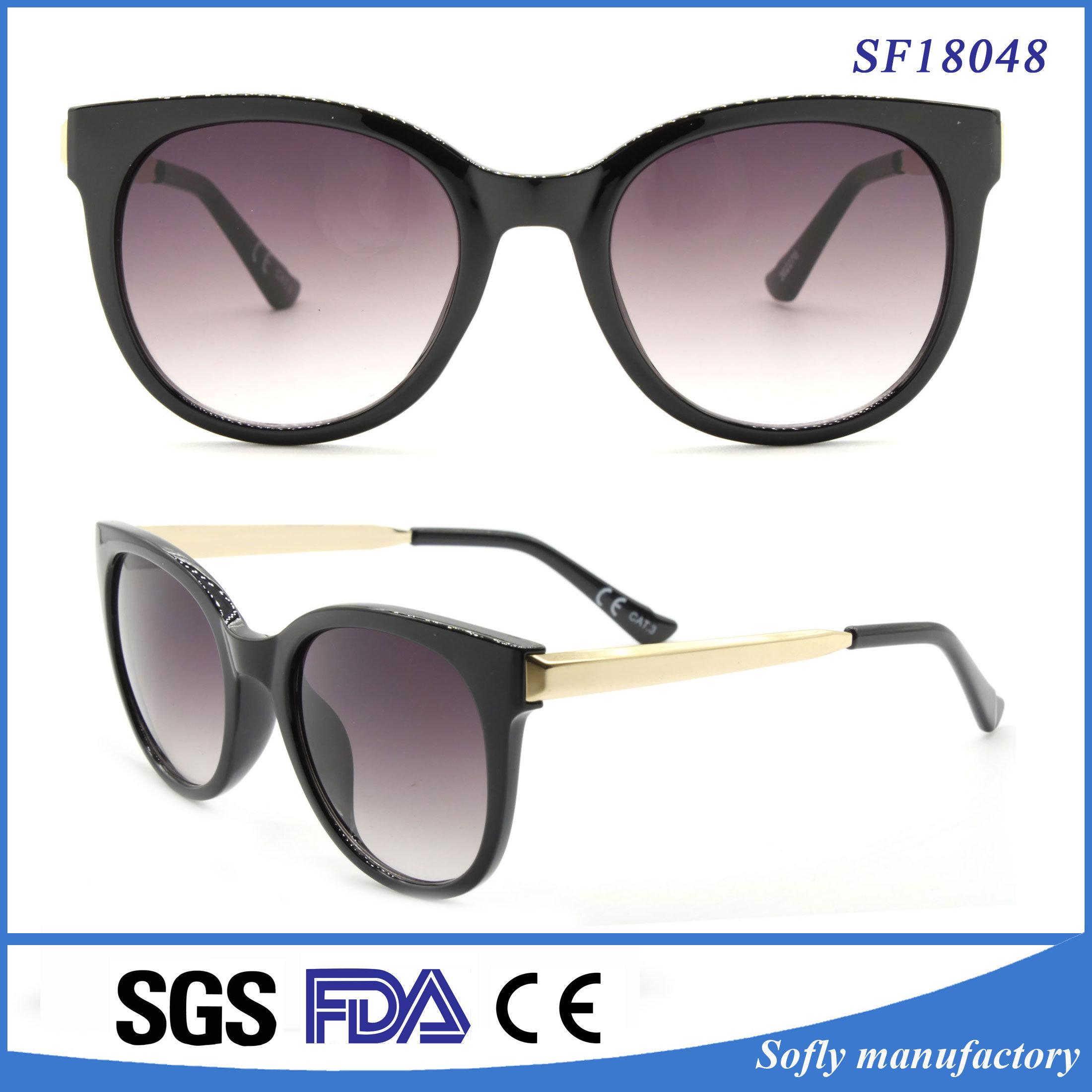 2dd618eb9638 China Big Black Cat Eyes Frame Sunglasses with Metal Temple for Women -  China Original Brand Sunglasses