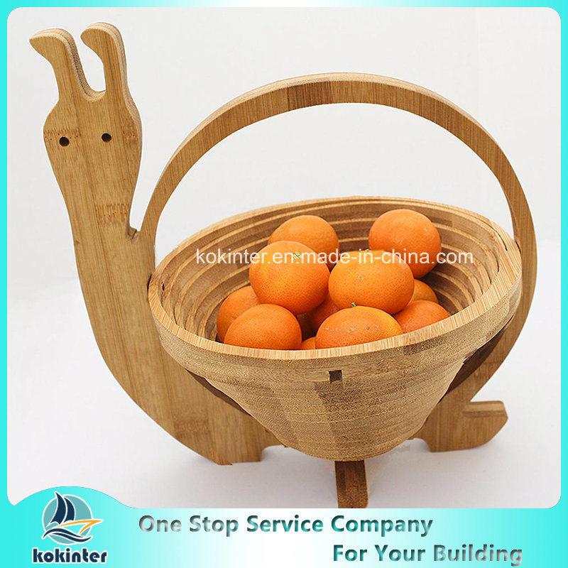 Amazon Hot Sell Collapsible Food-Safe Wooden Bamboo Fruit Basket with Apple Shaped pictures & photos