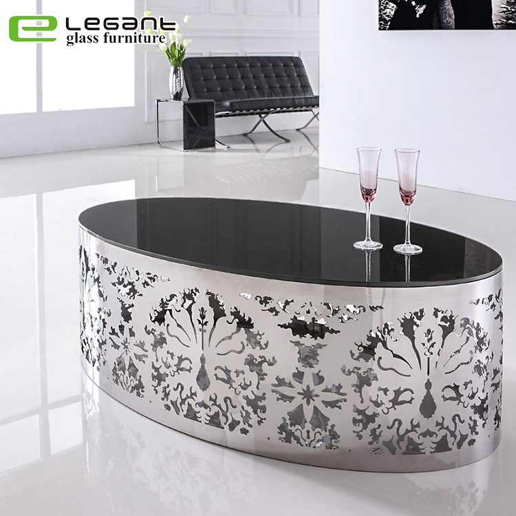 Modern Black Glass Coffee Table.Hot Item Contemporary Art Furniture Stainless Steel Feet Black Oval Glass Coffee Table