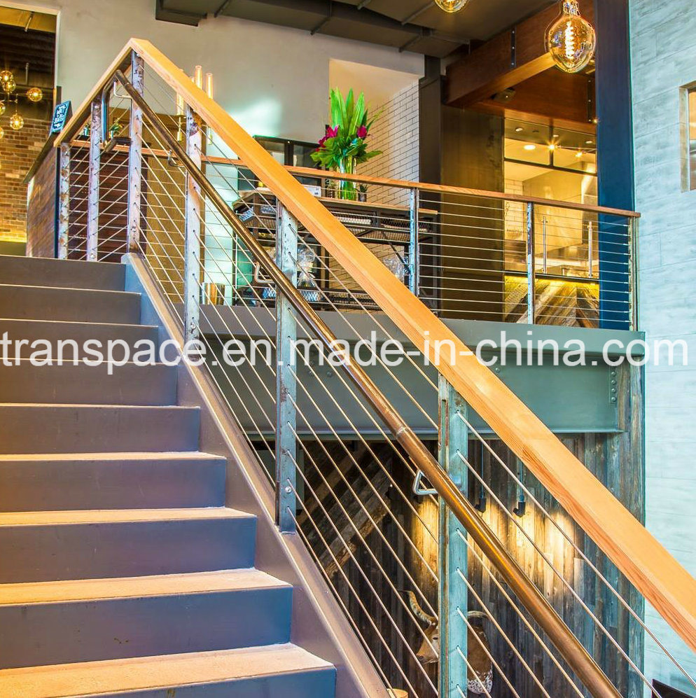 Hot Item Wood Handrail Stairs Balcony Stainless Steel Cable Wire Railing Barade