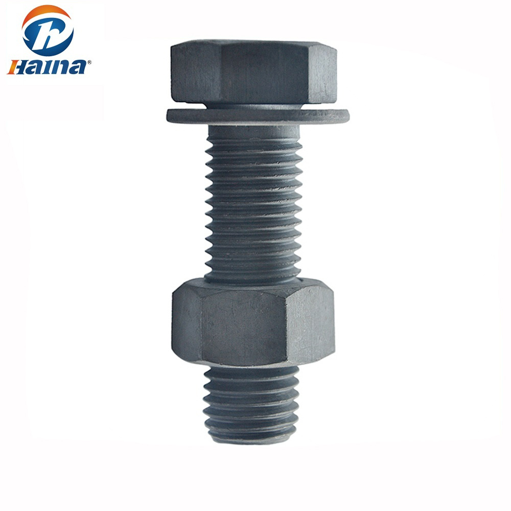 Bolt And Washer >> Hot Item Hdg Finished Full Thread Carbon Steel Hex Bolt With Hex Nut And Washer Hex Head Bolts