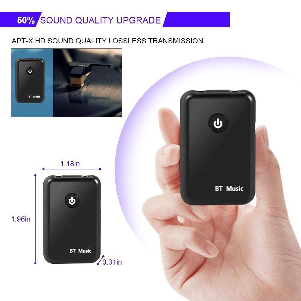 Colorful Bluetooth Adapter Transmitter and Receiver 2 in 1 Transmitter Receiver Stereo 3.5 mm Music Adapter Low Latency for Headphones Speaker Radio TV PC Laptop