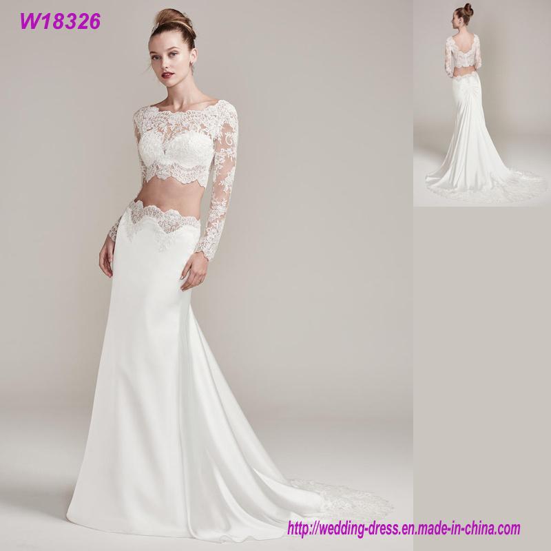 c2890eae796c China Women Cute Lace Applique Two Piece Long Sleeve Wedding Dress White  Dress - China Wedding Dress, Bridal Dress