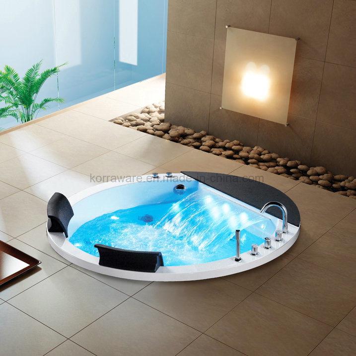 China Round Embedded Acrylic Bathtub for 2 Persons with LED Light ...
