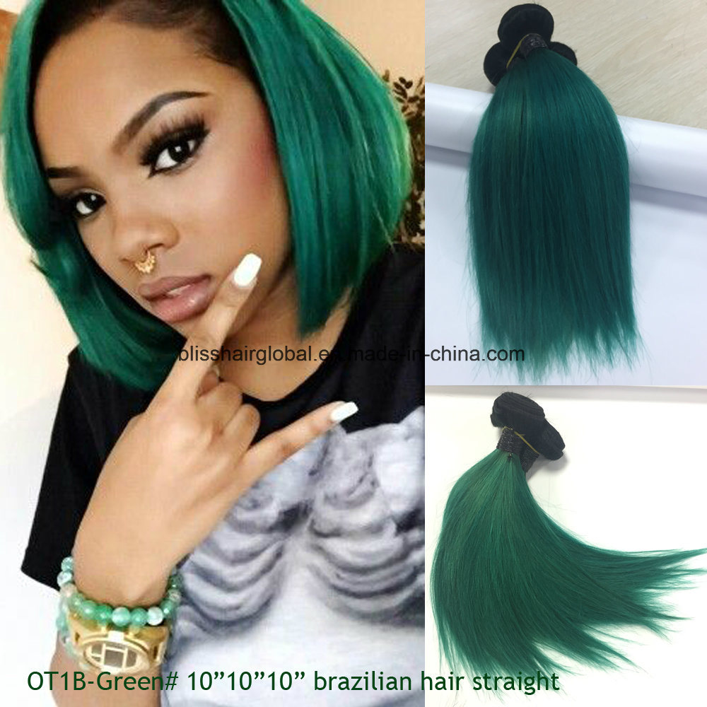 China Virgin Human Hair Extension Remy Brazilian Bliss Green Color 3