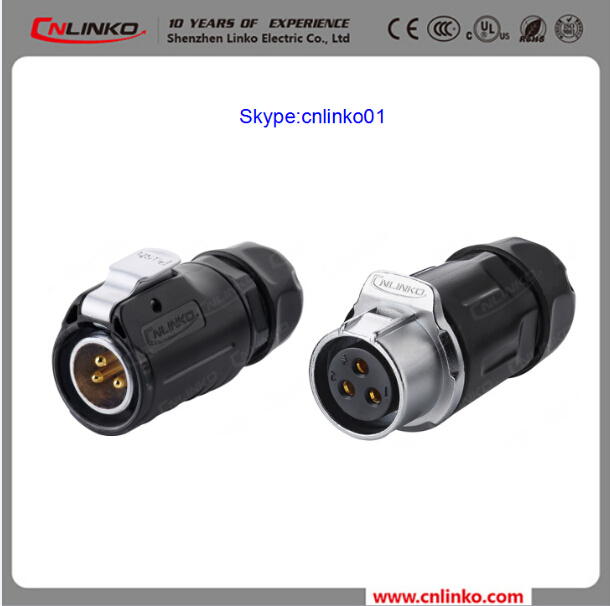 China Waterproof 3pin Electrical Connector Power Application Female