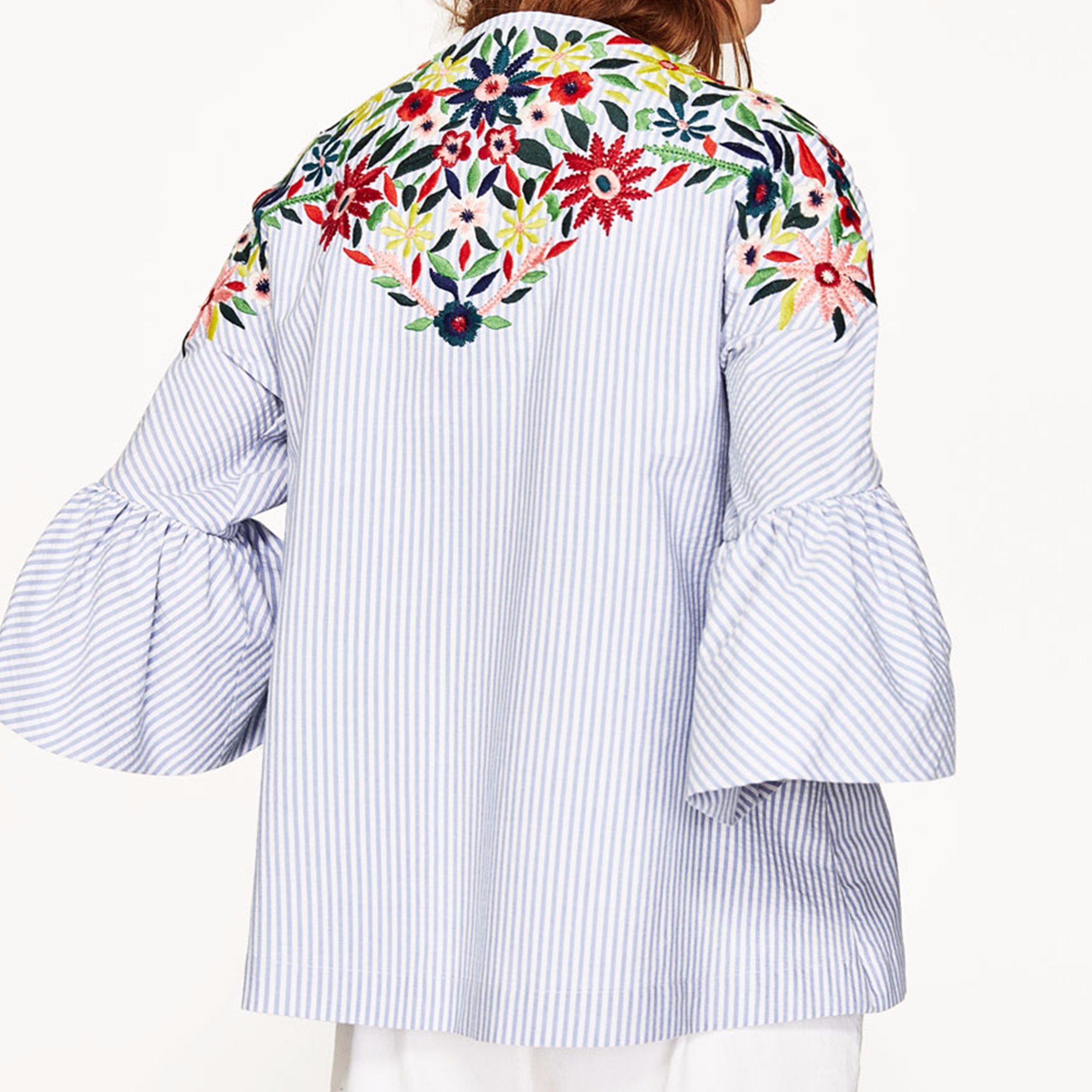 Ladies Fashion Flower Embroidery Flare Sleeve Blouse