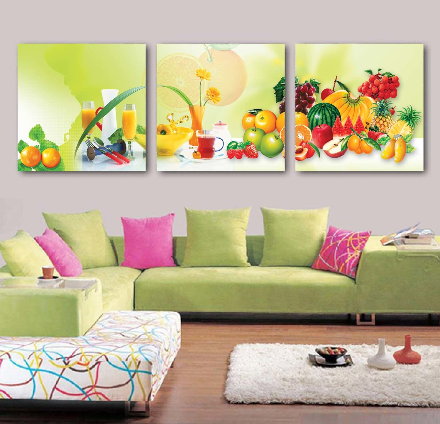 China 3 Panel Wall Art Oil Painting Fruit Painting Home Decoration ...