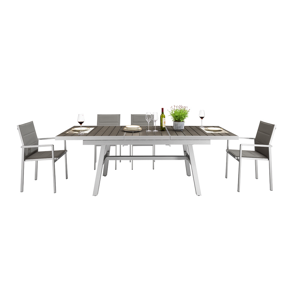 Wood aluminum furniture dining table and chair set
