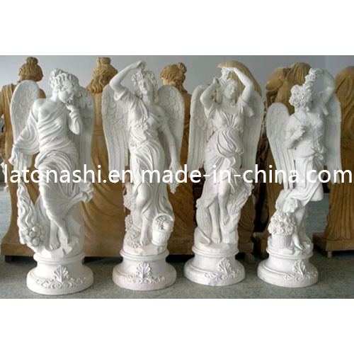 China Cheap White Marble Stone Outdoor Garden Statue With Wings
