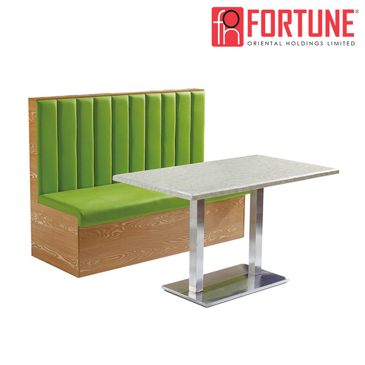 [Hot Item] New Cafe/Coffee Shop Modern Green Restaurnat Sofa Booth with  Wood Frame (FOH-XM29-627)