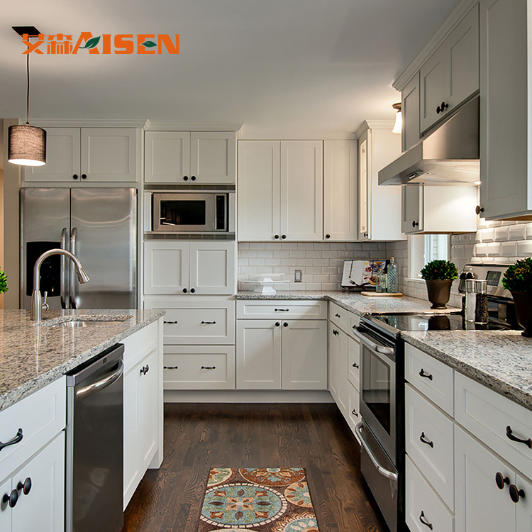 Solid Wood Kitchen Cabinets Made In Usa: China Fatory Home Decoration Europe Standard Modular White