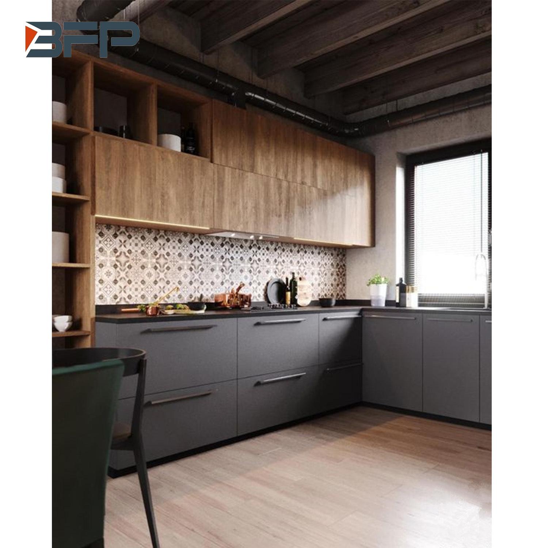 China Wood Grain Hpl Finish High End Popular Color Mix Kitchen Cabinet China Kitchen Cabinets Kitchen Furniture