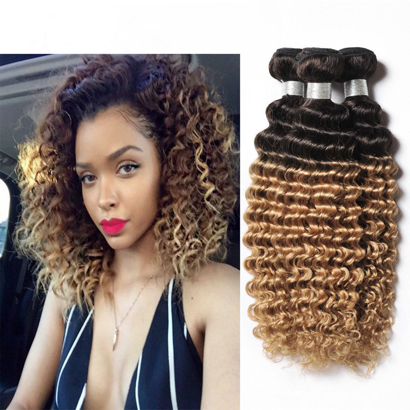 China Ombre Brazilian Deep Wave Virgin Hair 3 Bundles Hair Weave