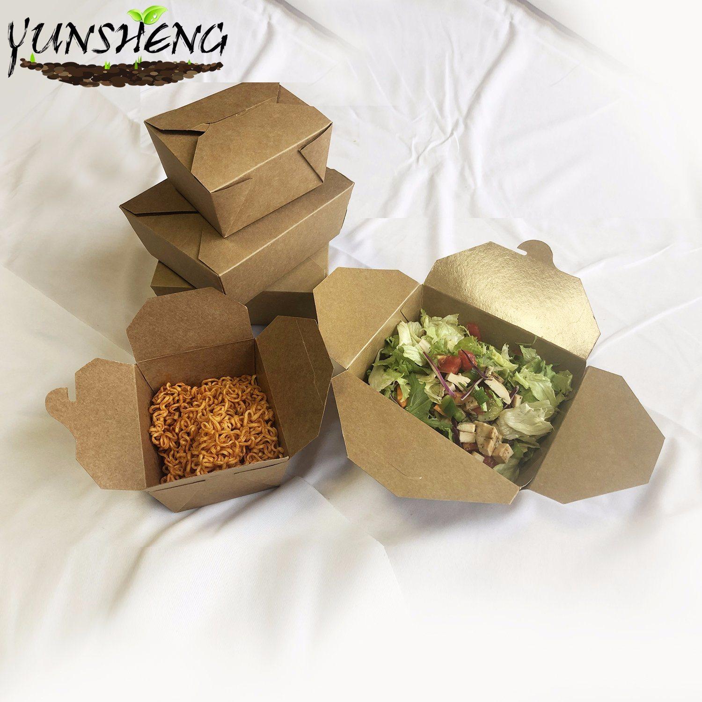 Food Boxes Brown Paper Food CartonLeak grease  Proof Takeaway Food Box